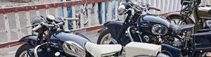 vintage motorcycle transporting